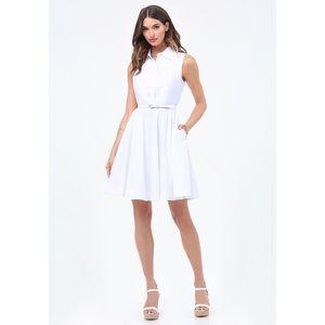 Bebe White Flared Shirtdress Size 0